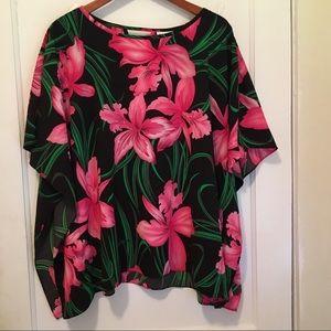 Susan Graver Floral Print Top Size L